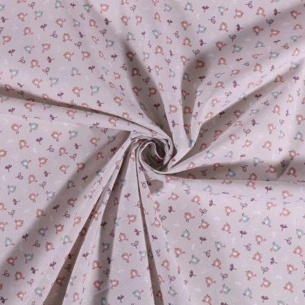 Tissu Coton imprimé Petits oiseaux sur fond Gris - Par 10 cm