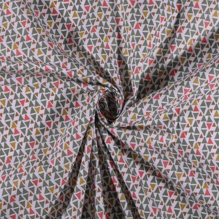 Tissu Coton imprimé Triangles multicolores sur fond Blanc - Par 10 cm