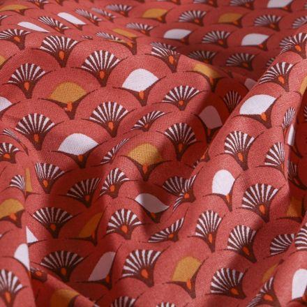 Tissu Coton imprimé Arty Éventails blancs et ocre sur fond Marsala - Par 10 cm