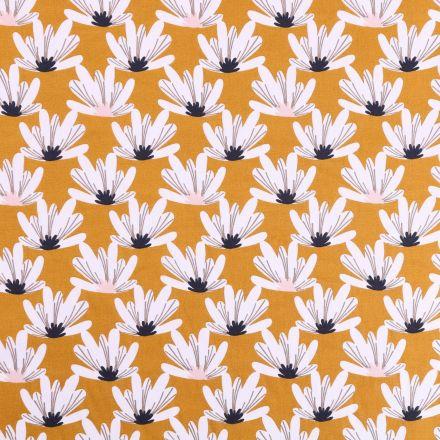 Tissu Coton imprimé Arty Marguerites Blanches sur fond Moutarde - Par 10 cm