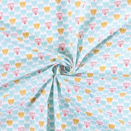 Tissu coton imprimé Arty Feuilles menthe moutarde et rouge sur fond Blanc - Par 10 cm