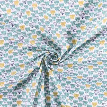 Tissu coton imprimé Arty Feuilles  vertes et bleu marine sur fond Blanc - Par 10 cm