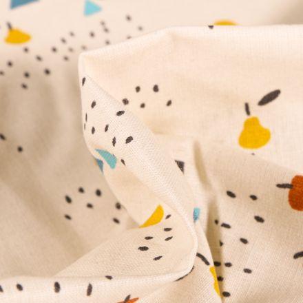 Tissu Coton imprimé Arty Poires et petits pois sur fond Blanc cassé