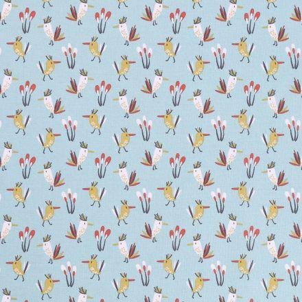 Tissu Coton Imprimé Arty Oiseaux Multicolores sur fond Bleu ciel - Par 10 cm