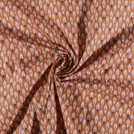 Tissu Coton imprimé Plumes blanches sur fond Rouille - Par 10 cm