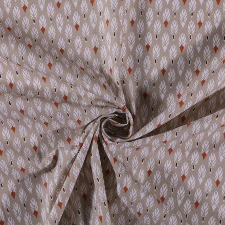 Tissu Coton imprimé Plumes blanches sur fond Beige - Par 10 cm