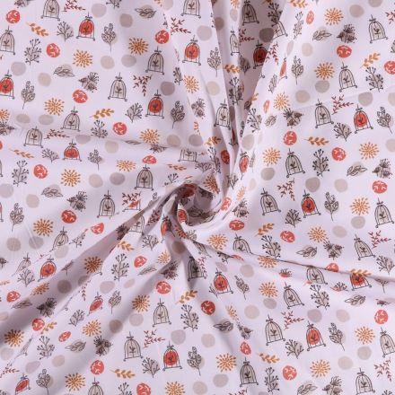 Tissu Coton imprimé Arty Cage aux oiseaux rouge et orange sur fond Blanc - Par 10 cm