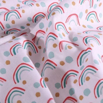 Tissu Coton imprimé Arty Arc en ciel et pois colorés sur fond Blanc - Par 10 cm