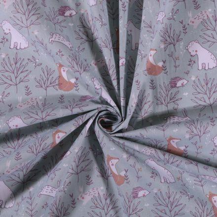 Tissu Coton imprimé Animaux de la forêt sur fond Vert d'eau - Par 10 cm