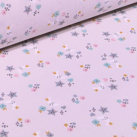 Tissu Coton imprimé Arty Mini lunes étoiles et fleurs sur fond Gris clair