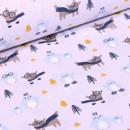 Tissu Coton imprimé Arty Loup et pingouins sur fond Blanc