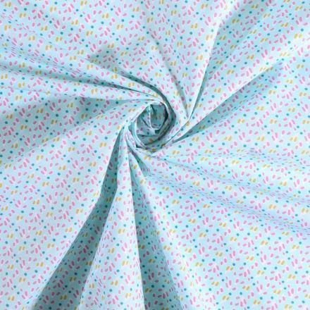Tissu coton imprimé Arty Pétales vertes et rose sur fond Bleu ciel - Par 10 cm