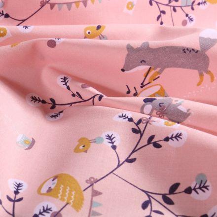 Tissu Coton imprimé Arty Symphonie en forêt sur fond Rose - Par 10 cm