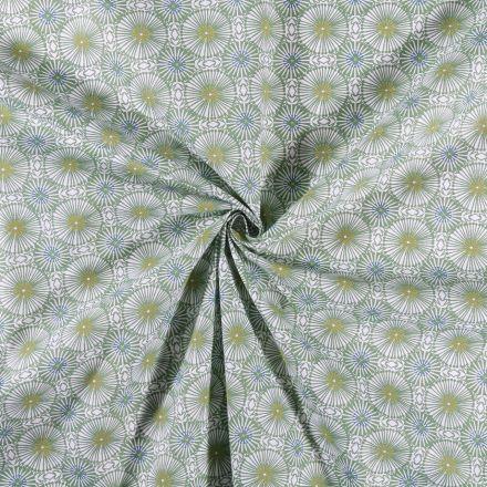 Tissu Coton imprimé Rosaces vertes sur fond Blanc - Par 10 cm