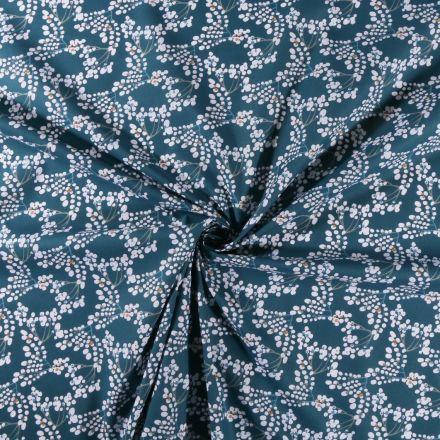 Tissu Coton imprimé Branches en fleur sur fond Bleu pétrole - Par 10 cm