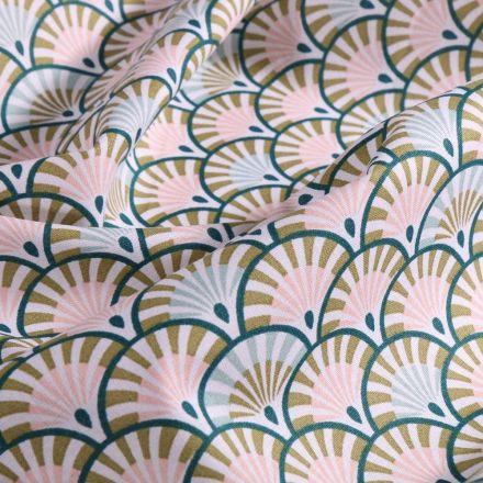 Tissu Coton imprimé Arty Écailles pastel et émeraude sur fond Blanc - Par 10 cm