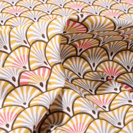 Tissu Coton imprimé Arty Eventails anis et corail sur fond Blanc - Par 10 cm