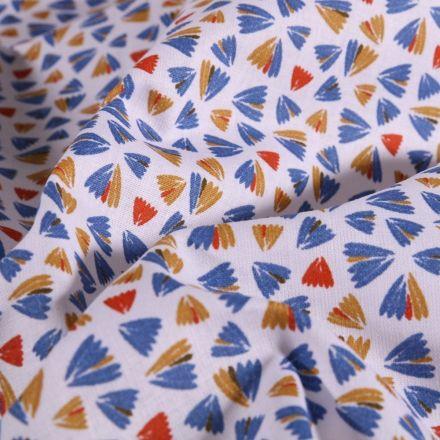 Tissu Coton imprimé Arty Éventails ocre et marine sur fond Blanc - Par 10 cm
