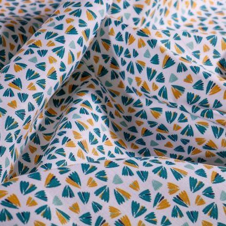 Tissu Coton imprimé Arty Éventails bleu et ocre sur fond Blanc - Par 10 cm