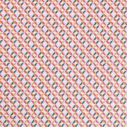 Tissu Coton Imprimé Arty Fleurs Bleues, moutarde et corail sur fond Blanc - Par 10 cm