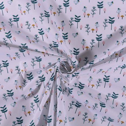 Tissu Coton imprimé Petits oiseaux et branches sur fond Blanc - Par 10 cm