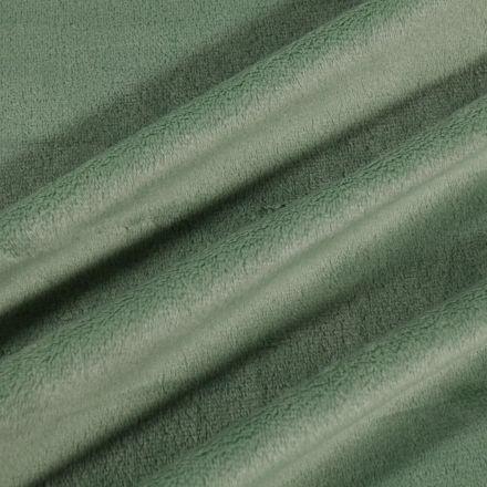 Tissu Minky Ultra doux Ras Vert kaki clair - Par 10 cm