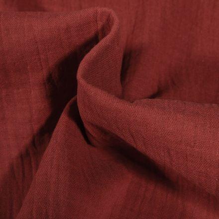 Tissu Double gaze de coton uni Rouge tomette - Par 10 cm
