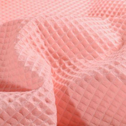Tissu Nid d'abeille  Rose blush - Par 10 cm