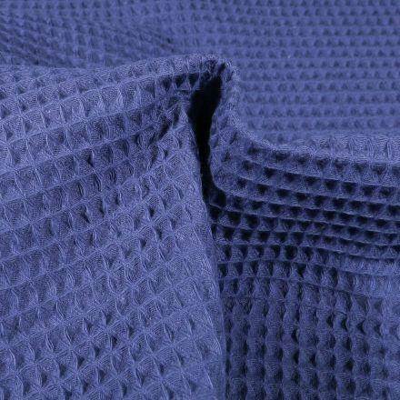 Tissu Nid d'abeille Bleu indigo - Par 10 cm