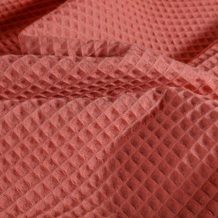Tissu Nid d'abeille Marsala - Par 10 cm