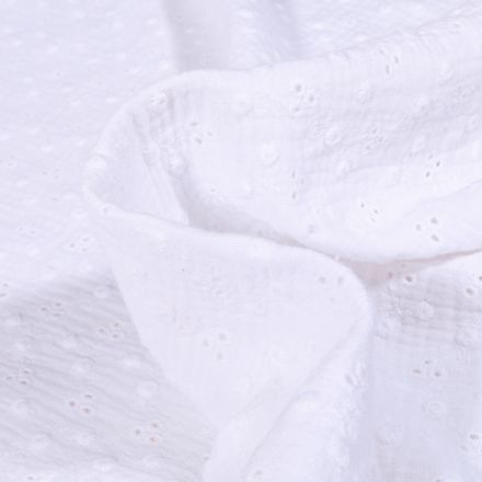 Tissu Double gaze brodée Adèle sur fond Blanc