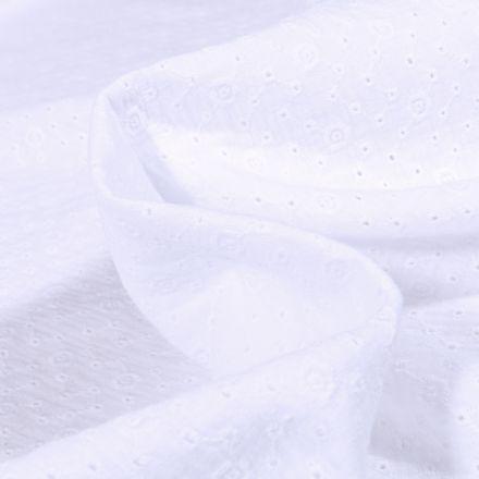 Tissu Double gaze brodée  Agnès sur fond Blanc