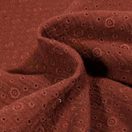 Tissu Double gaze Brodée Agnès sur fond Marron chocolat