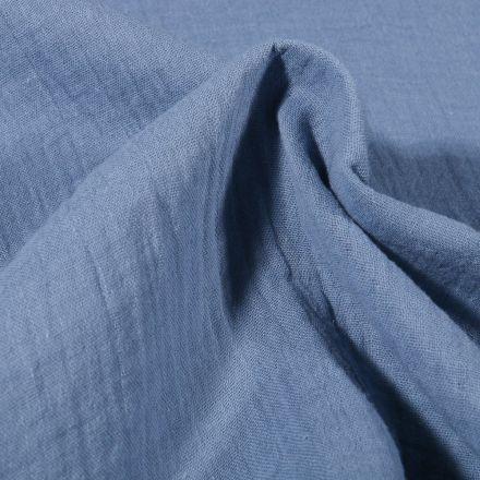 Tissu Double gaze de coton uni Bleu ancien - Par 10 cm
