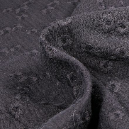 Tissu Double gaze Brodée Esmée sur fond Noir
