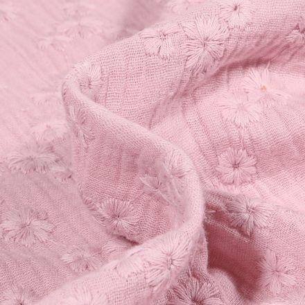Tissu Double gaze Brodée Esmée sur fond Rose poudré