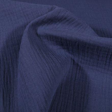 Tissu Double gaze de coton uni Bleu indigo - Par 10 cm