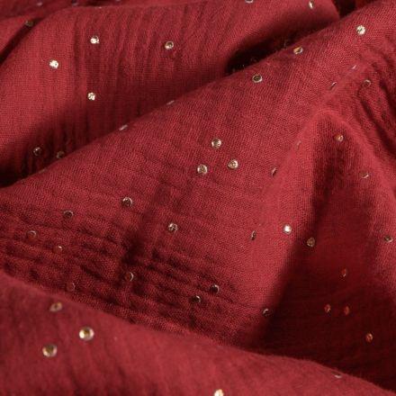 Tissu Double gaze Baya Pois dorés sur fond Lie de vin - Par 10 cm