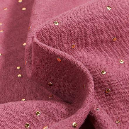 Tissu Double gaze Baya Pois dorés sur fond Bois de rose