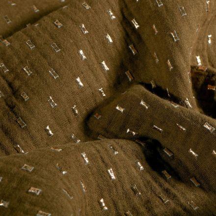 Tissu Double gaze Pointillés dorés sur fond Kaki - Par 10 cm
