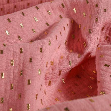 Tissu Double gaze Pointillés dorés Rose poudré - Par 10 cm