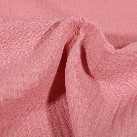 Tissu Double gaze de coton uni Vieux rose - Par 10 cm