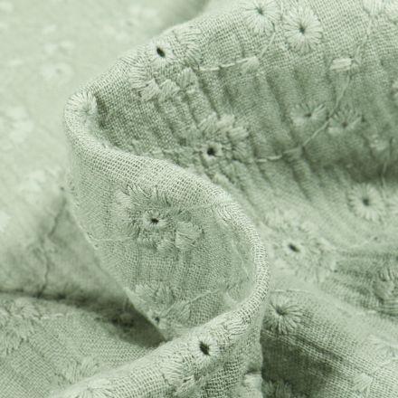 Tissu Double gaze Brodée Suzy sur fond Vert d'eau
