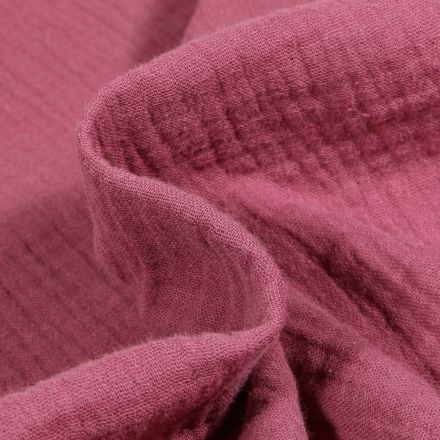 Tissu Double gaze de coton uni Bois de rose