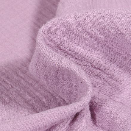 Tissu Double gaze de coton uni Lilas