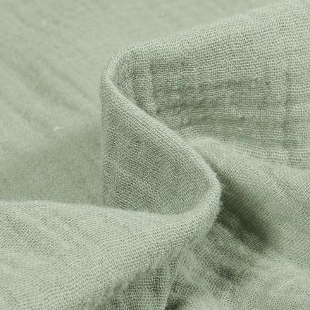 Tissu Double gaze de coton uni Vert d'eau
