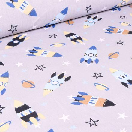 Tissu Coton imprimé Arty Fusée spatiale sur fond Gris