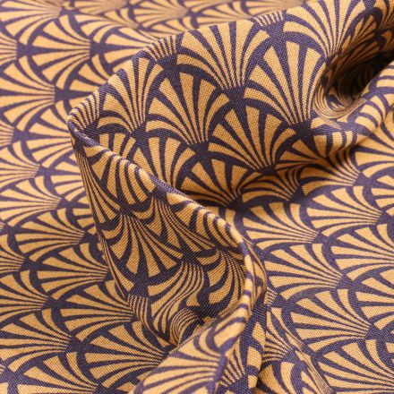 Tissu Viscose Arty Khol sur fond Aubergine