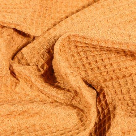 Tissu Nid d'abeille Jaune safran
