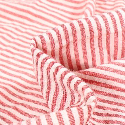 Tissu Viscose Coton Vichy aspect lin Rayures rouges sur fond Blanc